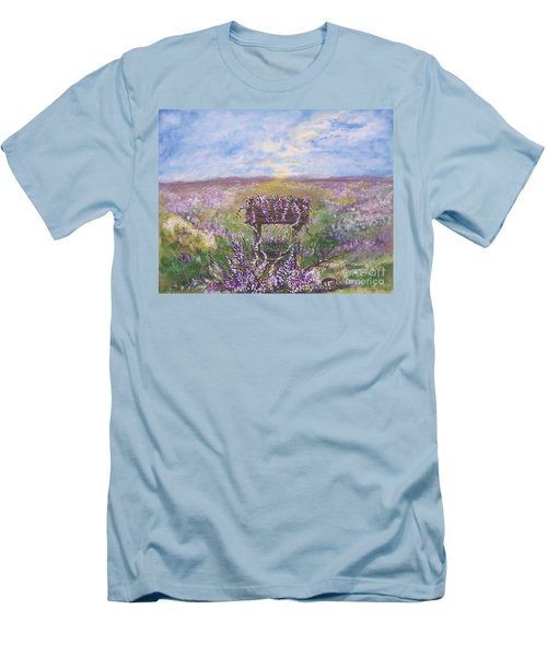 Men's T-Shirt (Slim Fit) featuring the painting Lavendar Wishes by Leslie Allen