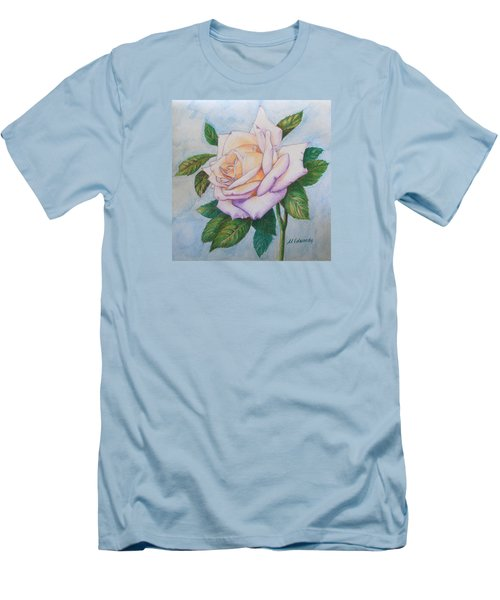 Men's T-Shirt (Slim Fit) featuring the drawing Lavender Rose by Marna Edwards Flavell
