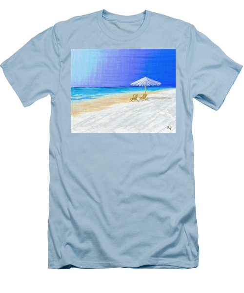 Lawn Chairs In Paradise Men's T-Shirt (Slim Fit) by Jeremy Aiyadurai