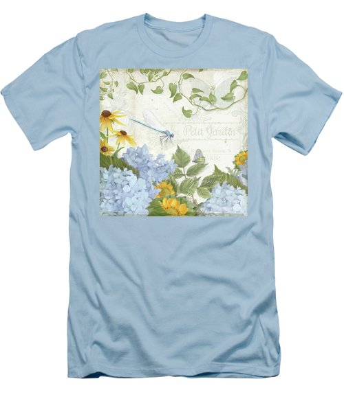 Men's T-Shirt (Athletic Fit) featuring the painting Le Petit Jardin 2 - Garden Floral W Dragonfly, Butterfly, Daisies And Blue Hydrangeas by Audrey Jeanne Roberts