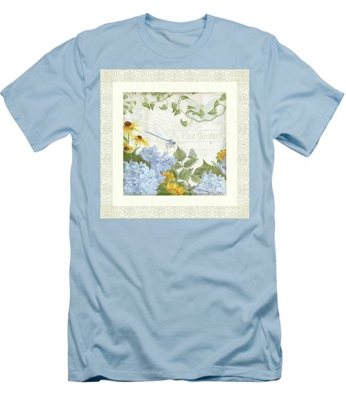 Men's T-Shirt (Athletic Fit) featuring the painting Le Petit Jardin 2 - Garden Floral W Dragonfly, Butterfly, Daisies And Blue Hydrangeas W Border by Audrey Jeanne Roberts