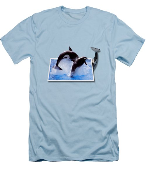 Leaping Orcas Men's T-Shirt (Slim Fit) by Roger Wedegis