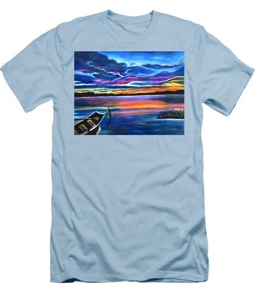 Left Alone A Seascape Boat Painting At Sunset  Men's T-Shirt (Athletic Fit)