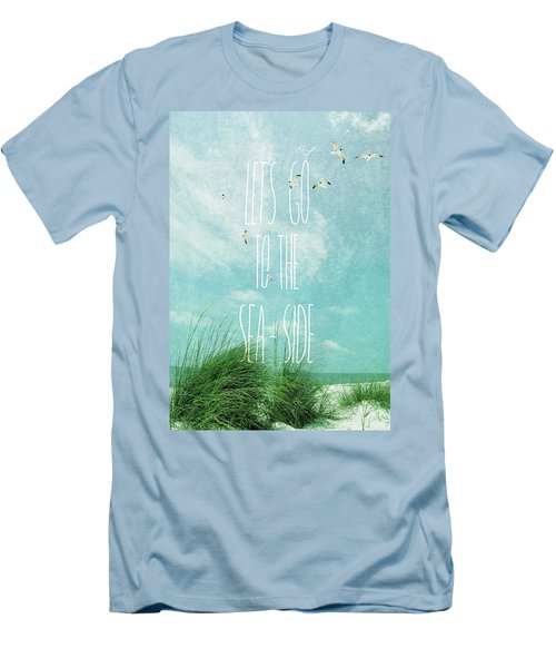 Let's Go To The Sea-side Men's T-Shirt (Slim Fit) by Jan Amiss Photography