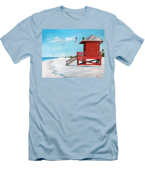 Let's Meet At The Red Lifeguard Shack Men's T-Shirt (Athletic Fit)