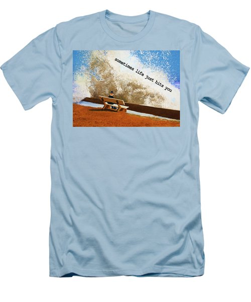 Life Hits You Greeting Card Men's T-Shirt (Slim Fit)