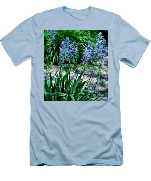 Light Blue Lace Men's T-Shirt (Slim Fit) by Marsha Heiken