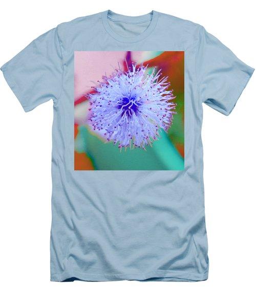 Light Blue Puff Explosion Men's T-Shirt (Slim Fit)