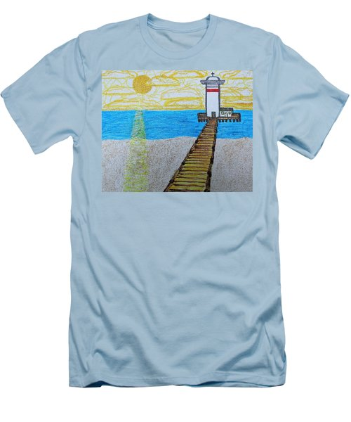 Lighthouse And Yellow Sun Men's T-Shirt (Slim Fit)