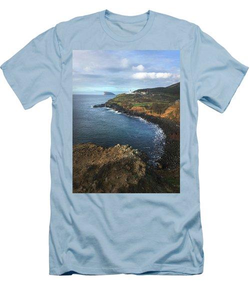 Lighthouse On Terceira Men's T-Shirt (Slim Fit) by Kelly Hazel