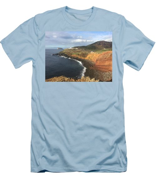 Lighthouse On The Coast Of Terceira Men's T-Shirt (Slim Fit) by Kelly Hazel
