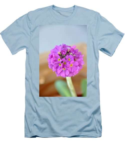 Men's T-Shirt (Slim Fit) featuring the photograph Single Pink Flower by Marion McCristall