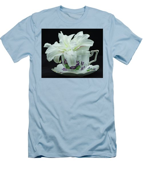 Lily With Teacup Men's T-Shirt (Athletic Fit)