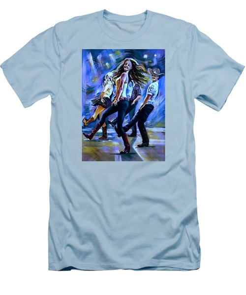 Line Dancing Fun Men's T-Shirt (Slim Fit) by Anna Duyunova