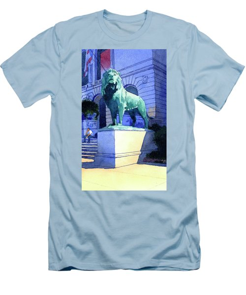 Lion At The Art Institue Of Chicago Men's T-Shirt (Athletic Fit)