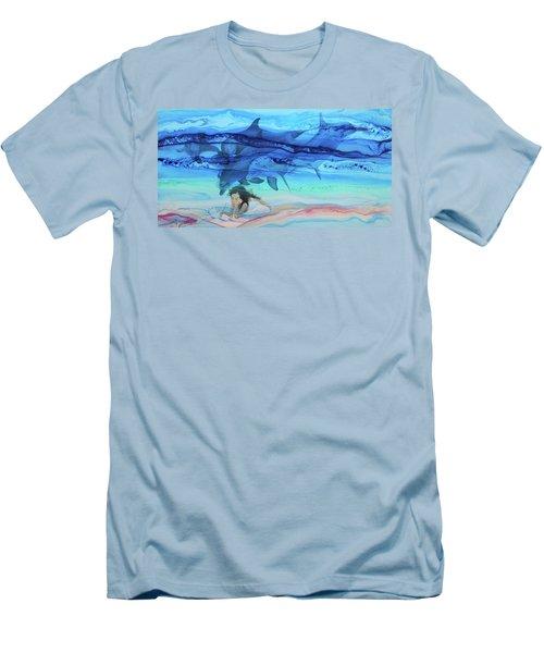 Little Girl Painter Men's T-Shirt (Athletic Fit)