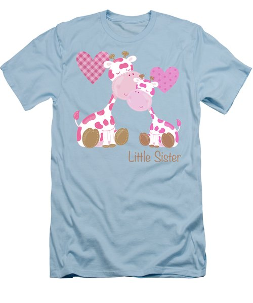 Little Sister Cute Baby Giraffes And Hearts Men's T-Shirt (Athletic Fit)