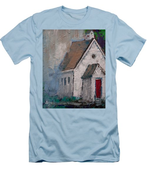 Little White Church On The Corner Christian Painting  Men's T-Shirt (Athletic Fit)