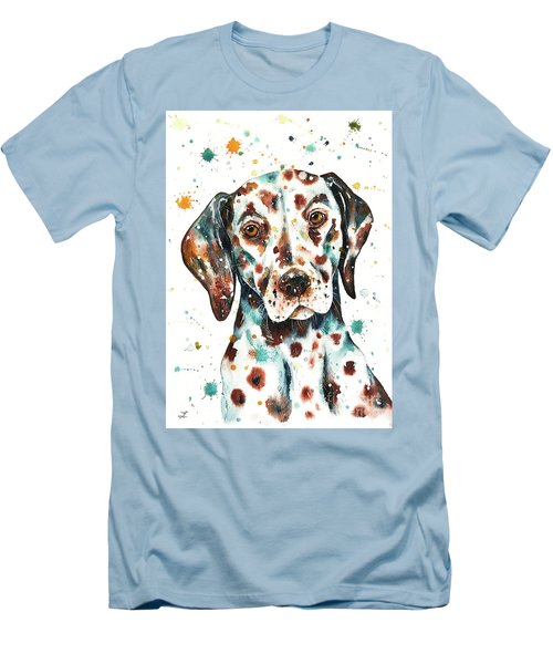 Men's T-Shirt (Athletic Fit) featuring the painting Liver-spotted Dalmatian by Zaira Dzhaubaeva
