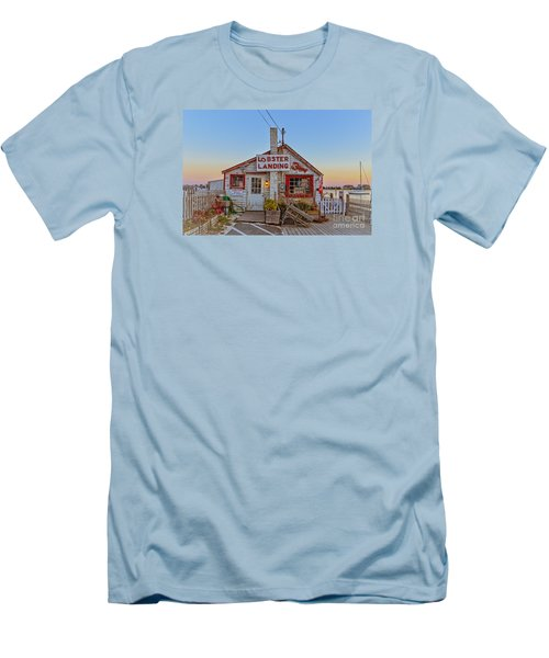 Men's T-Shirt (Athletic Fit) featuring the photograph Lobster Landing Sunset by Edward Fielding
