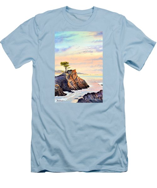 Lone Cypress Tree Pebble Beach Men's T-Shirt (Slim Fit) by Bill Holkham