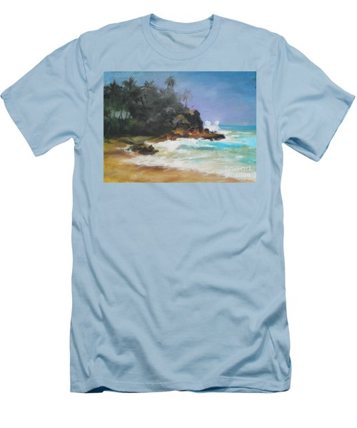 Men's T-Shirt (Slim Fit) featuring the painting Lonely Sea by Rushan Ruzaick