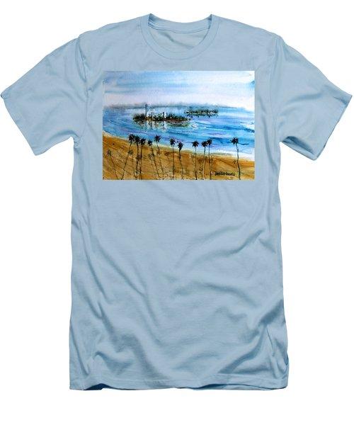 Long Beach Oil Islands Before Sunset Men's T-Shirt (Slim Fit) by Debbie Lewis