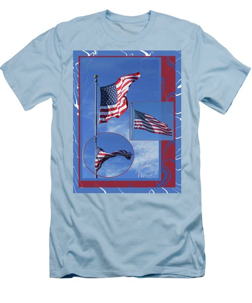 Long May She Wave - American Flag Photo Ensemble W-text And Borders Men's T-Shirt (Athletic Fit)