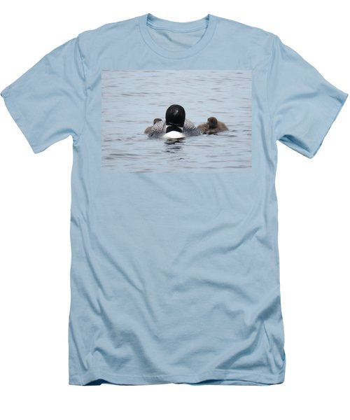 Men's T-Shirt (Slim Fit) featuring the photograph Loon With Chicks by Sandra LaFaut