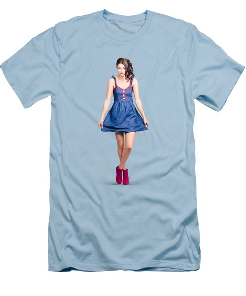 Lovable Eighties Female Pin-up In Denim Dress Men's T-Shirt (Slim Fit) by Jorgo Photography - Wall Art Gallery
