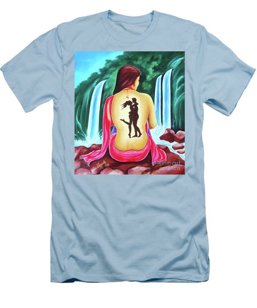 Men's T-Shirt (Slim Fit) featuring the painting Love And Intimate by Ragunath Venkatraman