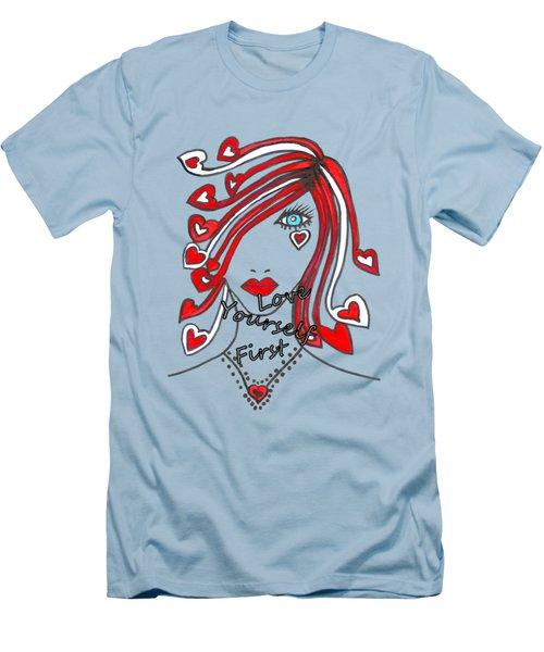 Love Yourself First Men's T-Shirt (Slim Fit) by Kathleen Sartoris