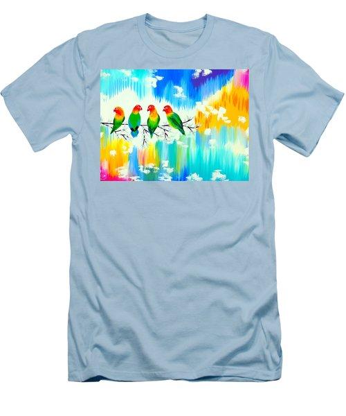 Lovebirds On A Branch Men's T-Shirt (Slim Fit)