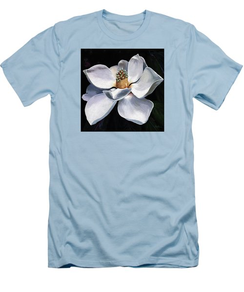 Men's T-Shirt (Slim Fit) featuring the painting Lovely In White - Painting Magnolia Flower  by Linda Apple