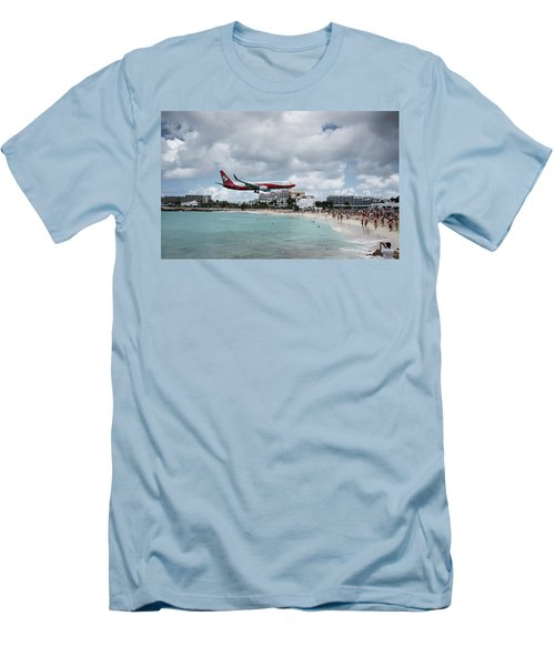 Low Landing At Sonesta Maho Beach Men's T-Shirt (Slim Fit) by Nick Mares