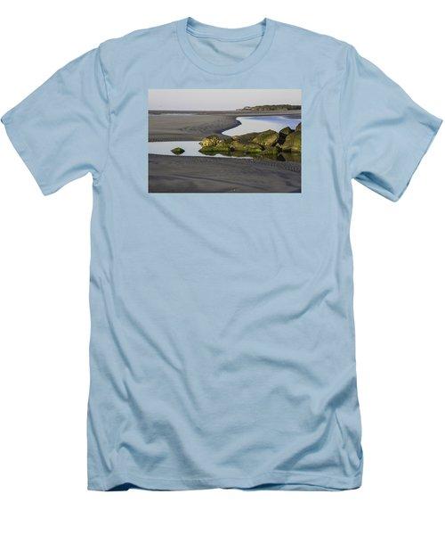 Low Tide On Tybee Island Men's T-Shirt (Slim Fit) by Elizabeth Eldridge