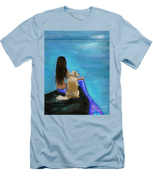 Men's T-Shirt (Athletic Fit) featuring the painting Loyal Loving Buddy by Leslie Allen