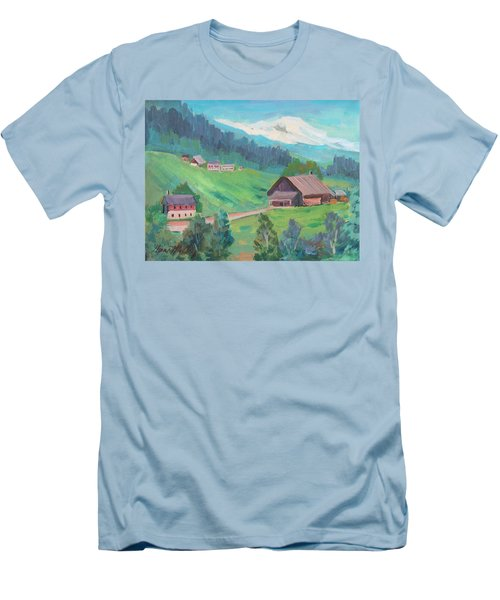 Men's T-Shirt (Slim Fit) featuring the painting Lucerne Countryside by Diane McClary