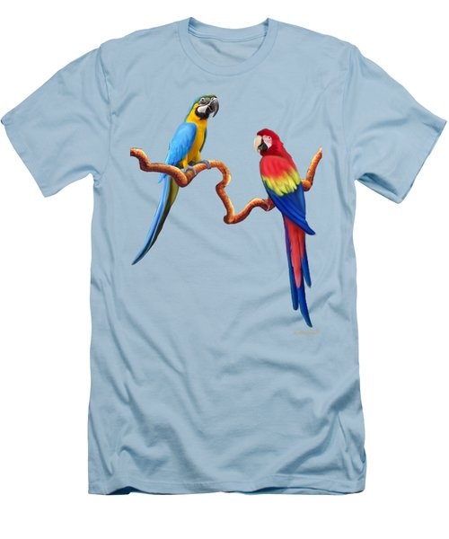 Macaw Tropical Parrots Men's T-Shirt (Slim Fit) by Glenn Holbrook