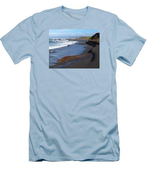 Mackerricher Beach Coastline Men's T-Shirt (Slim Fit) by Amelia Racca