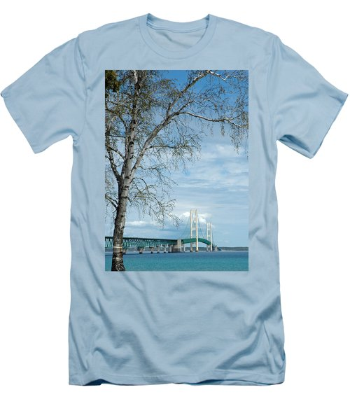 Mackinac Bridge Birch Men's T-Shirt (Athletic Fit)