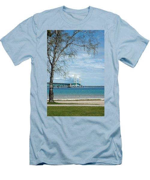 Men's T-Shirt (Slim Fit) featuring the photograph Mackinac Bridge Park by LeeAnn McLaneGoetz McLaneGoetzStudioLLCcom