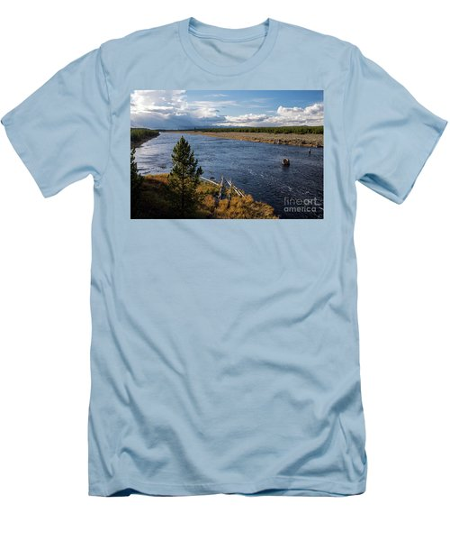 Madison River In Yellowstone National Park Men's T-Shirt (Slim Fit) by Cindy Murphy - NightVisions