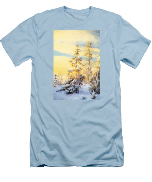 Men's T-Shirt (Slim Fit) featuring the photograph Magical Winter Landscape by Rose-Maries Pictures