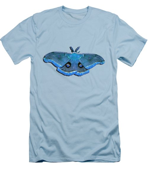 Men's T-Shirt (Slim Fit) featuring the photograph Male Moth Medium Blue .png by Al Powell Photography USA