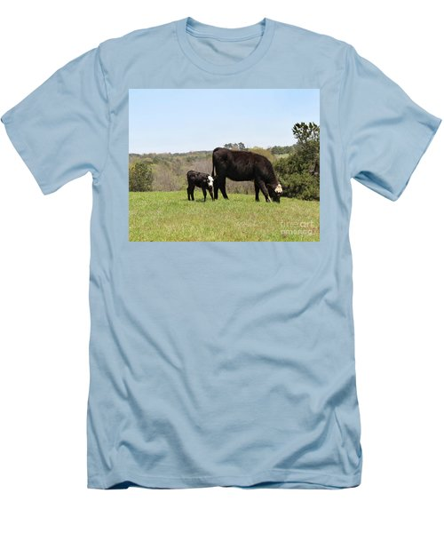 Mama Cow And Calf In Texas Pasture Men's T-Shirt (Athletic Fit)