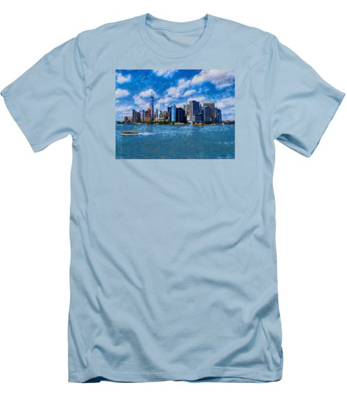 Men's T-Shirt (Slim Fit) featuring the digital art Manhattan Skyline by Kai Saarto