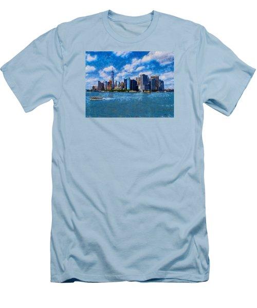 Manhattan Skyline Men's T-Shirt (Slim Fit) by Kai Saarto