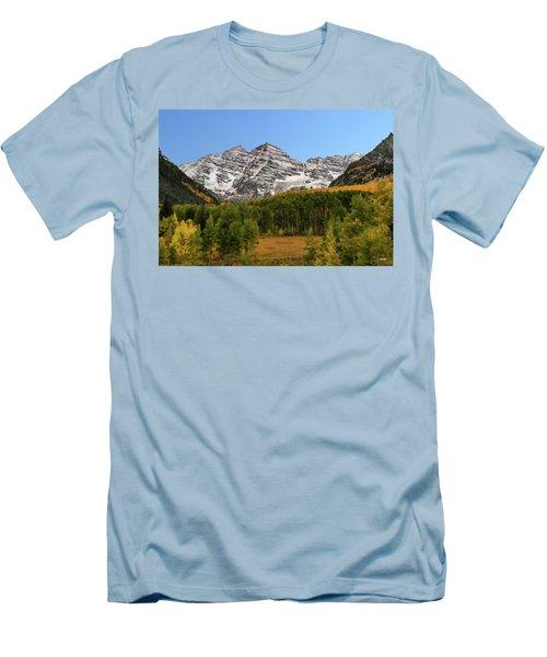 Maroon Bells Men's T-Shirt (Slim Fit) by Dana Sohr