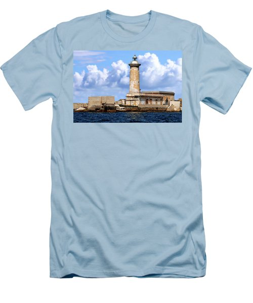 Marsala Lighthouse Men's T-Shirt (Slim Fit) by Anthony Dezenzio